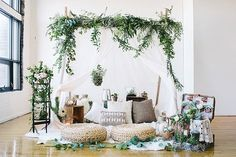 Great for a Rainy Day Photoshoot Bohemian Picnic elopement. Indoor loft space transformed into the perfect botanical boho picnic for two.