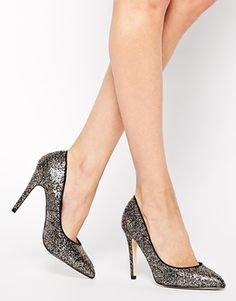 31d1240c6a Enlarge Miss KG Carrie Gold and Black Glitter Heeled Court Shoes Black  Glitter Heels, Glitter