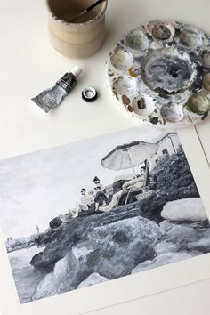 Acrylic painting of beach scene in Italy, painted in black and white by artist Kirsten Jenna Haviland Beach Scenes, Mixed Media Art, Italy, Black And White, Artist, Painting, Instagram, Italia, Black N White