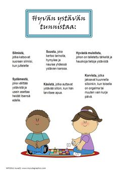 This product is in Finnish. Four posters: - a good friend - a good listener - a good reader - a good writer This work by Maria Pernu is licensed under a Creative Commons Attribution-NonCommercial-NoDerivatives International License. Primary Education, Early Education, Childhood Education, Fun Activities For Kids, Preschool Activities, Learn Finnish, Finnish Words, Finnish Language, Kindergarten Crafts