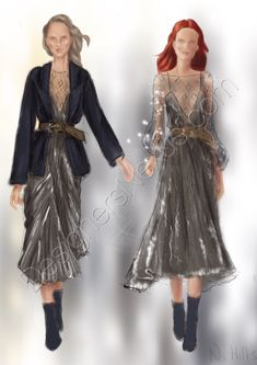 Fashion sketches fall 2018 women's wear Look 1. Loose fit with wide tuxedo lapels jacket belted over plinged neckline shoulder strap plisse satin dress.  2. Shoulder strap crinkled satin dress belted over embellished puff sleeve sheer mesh top