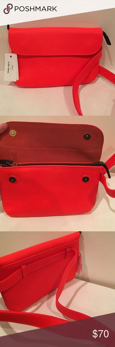 Clare V Leather Fanny Pack Clare V Leather Fanny Pack: NEVER USED! This fanny pack purse is amazing and is the prettiest pop color. Fits perfectly around the waist and is hands free Clare Vivier Bags Crossbody Bags