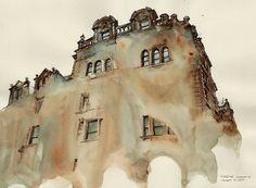 Архитектура мира на картинах написанных акварельными красками от художника Sunga Park