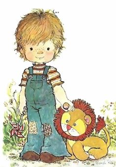 Boy and lion Sara Kay, Holly Hobbie, Australian Artists, Sweet Memories, Digital Stamps, Cute Illustration, Vintage Children, Cute Kids, Little Boys