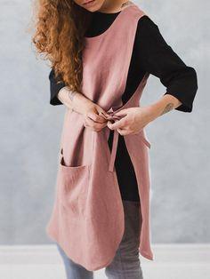 Sleeveless Pocket Cotton Solid Vintage Apron Dress - Creamtoe B Sewing Aprons, Sewing Clothes, Diy Clothes, Aprons Vintage, Retro Apron, Vintage Sewing, Vintage Dresses, Apron Designs, Dress Designs