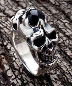 Black Onyx Skull 925 Sterling Silver Mens Band Ring Sz 7 New Gothic Biker   eBay