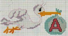 Schemi per il punto croce: Cicogna con monogramma ...