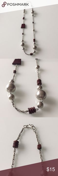 Fun silver ball & wood bead silver chain necklace Long necklace that would look cute with a white T-shirt and denim. Bundle with another piece of jewelry for a special offer! Jewelry Necklaces