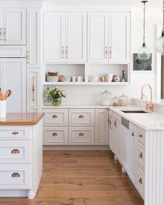 "396 Likes, 7 Comments - @scoutandnimble on Instagram: ""A beautiful white kitchen with copper pulls designed by @karrbick."""
