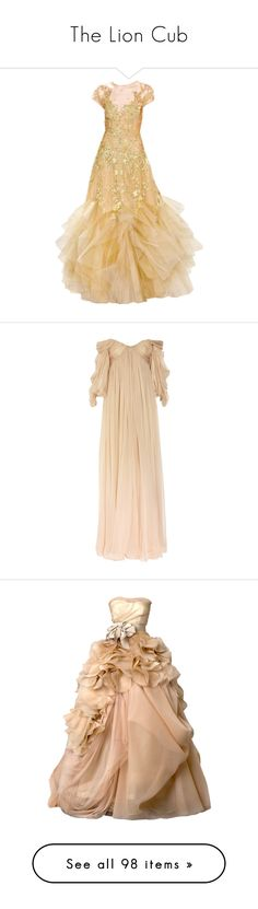 """The Lion Cub"" by mlleemilee ❤ liked on Polyvore featuring dresses, gowns, long dresses, vestidos, couture dresses, couture gowns, beige long dress, couture evening dresses, beige evening dresses and long sleeve evening dresses"