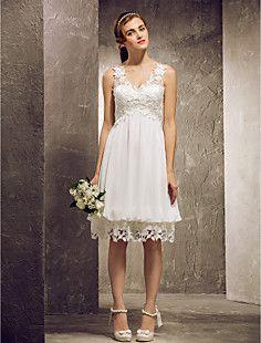 A-line Princess V-neck Knee-length Chiffon And Lace Bridesma... – USD $ 99.99-kristi would look beautiful!