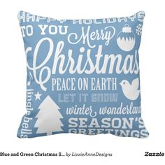 Blue and Green Christmas Subway Art Pillow ($33) ❤ liked on Polyvore featuring home, home decor and throw pillows