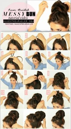 The messy side braid bun is also girl's favourite summer hair do. You can start with a side French braid from right to left or either way, and then put it in a bun on the other side. #hairstyles