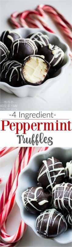 Peppermint Truffles. Amazingly creamy peppermint white chocolate ganache center coated with MORE chocolate and drizzled with extra white chocolate. Perfect