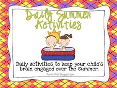 Fun in First Grade: Summer Activity Calendar