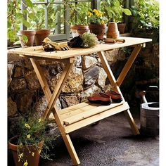 Wood Console Table/Potting Bench, $67.99