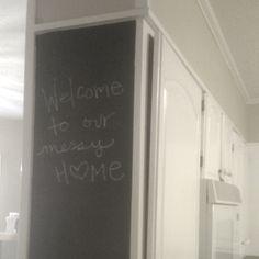 Chalkboard paint cabinet side