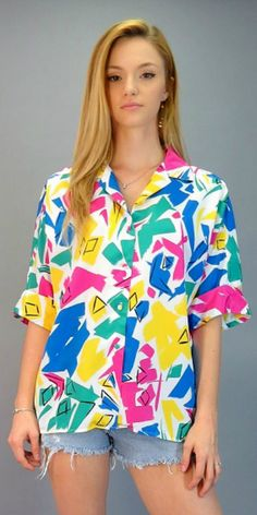 Vintage 90s Geometric Abstract Shirt Bright Neon Print Short Sleeve Blouse Fresh Prince of Bel Air Pink Green Blue Hipster Oversized 80s Retro Secretary Top by BlueFridayVintage on Etsy