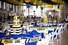 Ken's Cops and Robbers Themed Party – Table Setup/Centerpiece