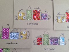 New home cards New Home Cards, New Homes, Textiles, Homemade, Projects, Fun, Log Projects, Home Made, Diy Crafts