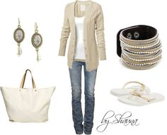 The simple beauty of white and tan, created by shauna-rogers on Polyvore