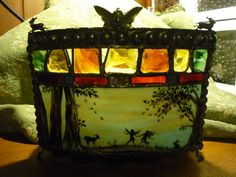 Victorian Woodland Fairy - Stained Glass Painted Candle Holder