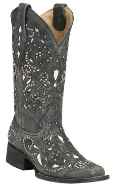 Corral® Women's Distressed Black w/ White Inlay & Silver Studs Square Toe Western Boots from Cavender's. Saved to cowgirl. Black Cowgirl Boots, Western Boots, Western Riding, Western Style, Cute Shoes, Me Too Shoes, Cavenders Boots, Head Over Boots, Boot City