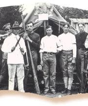 Joe Howard Layton (the son of Mary Delilah Price-Layton) at Fort Sill, Oklahoma (in white pants on the far left) - Cherokee - 1904