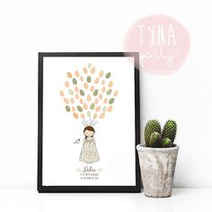 Lámina de huellas personalizada para la Primera Comunión de tu niña! De Tartas y Nubes de Azúcar - TYNA party
