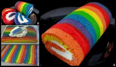 Rainbow cake roll with delicious whipped cream cheese filling! Rainbow Cake Roll Recipe, Rainbow Roll, Cake Roll Recipes, Rainbow Cakes, Rainbow Bread, Dessert Recipes, Beaux Desserts, Delicious Desserts, Yummy Food