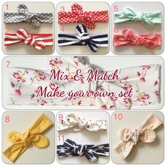 Mix & match make your own set / baby headband / by Make Your Own, How To Make, Loop Scarf, Match Making, Knot Headband, Mix Match, Baby Headbands, Crochet, Handmade