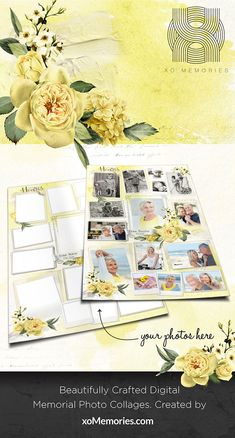 Shop our range of beautifully crafted XO Memories Memorial Photo Collage Templates Photo Collage Design, Photo Collage Template, Photo Collages, Funeral Tributes, Photo Restoration, Polaroid Photos, Digital Collage, Yellow Roses