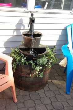 new and improved new fountain, flowers, gardening, outdoor living, ponds water features Barrel Fountain, Diy Water Fountain, Tabletop Fountain, Fountain Ideas, Homemade Water Fountains, Fountain Design, Old Water Pumps, Diy Water Feature, Garden Globes