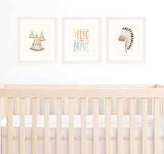 Baby Boy Nursery Set of 3 8x10 / A4 Prints, Tribal Nursery Art, Watercolour Illustration of Teepees, Indian Headdress and Brave Quote on Etsy, $50.00