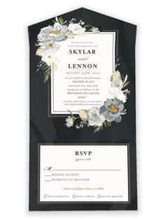This Wedding Invitation Features A Frame Of Peonies. Black All-In-One Wedding Invitations From Minted By Independent Artist Susan Moyal. Sky AIO. How To Dress For A Wedding, The Wedding Date, Luxury Wedding Dress, Wedding Vows, Fall Wedding, Lilac Wedding, Wedding Bouquets, Wedding Flowers, Wedding Centerpieces