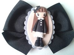 broche fimo by pillomimo,Elena Garcia Rizo, via Flickr - could DIY a b-day prezzie by tailoring the doll to the person via picture and do a comparison thingy