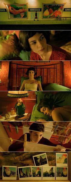 Le fabuleux destin d'Amélie Poulain.  En este caso, vemos que en el interior la luz es amarillenta, consecuencia de la luz motivada de las lámparas y la típica iluminación del hogar, que es más cálida. Sin embargo, se ve que el verde es el color fundamental de la película, a parte de por la tonalidad en general que sigue la película, por el atrezzo, el vestuario e incluso los lugares. Todo está muy cuidado para que el color verde esté siempre presente.