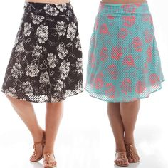 Plus size a-line printed skirt w/ lining NWT. Black/White or Teal/Pink. Fun, feminine, and classy plus size knee length a-line printed floral skirt. Features an inner lining and back zipper.   1X: 14-16W, 34-37 inch waist, 43-47 inch hip.  2X: 18-20W, 38-41inch waist, 47-50 inch hip.  3X: 22-24W, 42-45 inch waist, 50-54 inch hip.   100% Polyester. Made in USA Skirts A-Line or Full