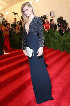 Cara Delevingne in Burberry at the Met Gala