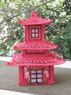 FSL & Fabric Pagoda Machine Embroidery, Bird, Outdoor Decor, Fabric, House, Home Decor, Tejido, Tela, Decoration Home