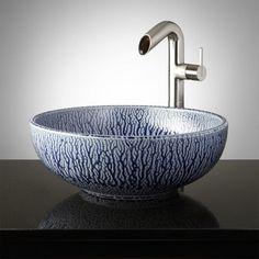 Lanark Hand-Glazed Vessel Sink - Mottled Blue