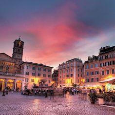 Piazza Santa Maria in Trastevere, Rome, Italy