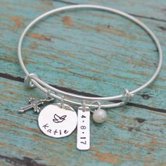 Great gift for confirmation! Personalized cross bangle now available in my Etsy shop!