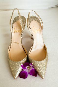louboutin gold glitter high heels wedding shoes Photography by Weddings by Willy & Meghan www.weddingswm.com