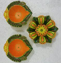 Hand painted earthen lamps or diyas for diwali decoration buy from #craftshopsindia