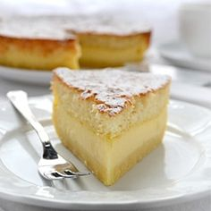 Magic Cake:The magic is in the fact that you make only one batter and, after baking, you get a cake with 3 distinct layers: dense one on the bottom, custard-like layer in the middle, and a sponge layer on top. It has wonderful vanilla flavor and simply melts in your mouth.