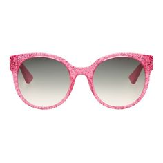 Gucci - Pink Round Glitter Sunglasses