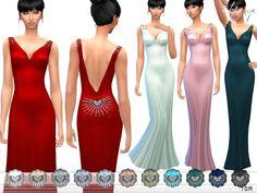 Open Back Satin Dress by ekinege at TSR