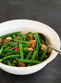 Sesame Green Beans with Bacon and Chestnuts.