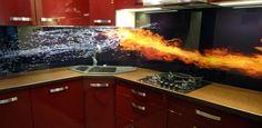 sklenená kuchynská zástena - grafické sklo - UV potlač